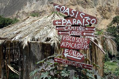 COLCA CANYON, PERU: A sign of incentives.