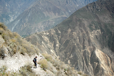 COLCA CANYON, PERU: Forrest makes his way down the rocky trail.