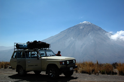 CHACHANI, PERU: One of our stops on the road up to Chachani with a view of El Misti.