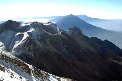 CHACHANI, PERU: Looking back across the range from 5,800m - including El Misti.
