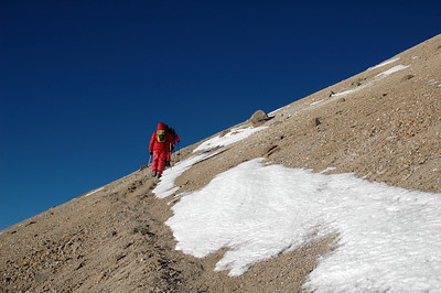 CHACHANI, PERU: Pushing up the sulfuric section of the face of Fatima at 5,700m.