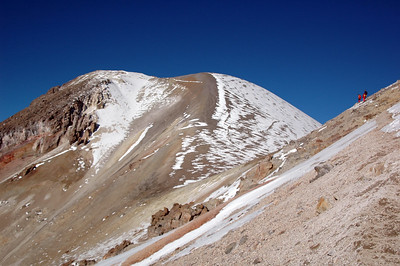 CHACHANI, PERU: Rounding the face of Fatima, the Chachani summit comes into view.