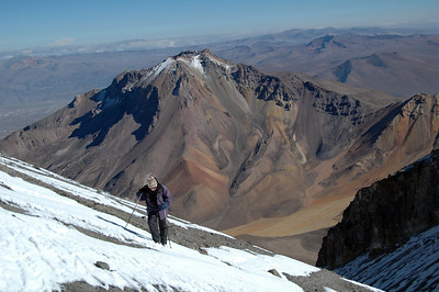 CHACHANI, PERU: Up the final face of Chachani. 5,900m.