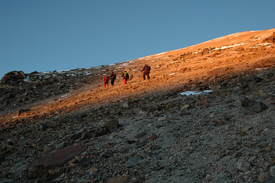 CHACHANI, PERU: 6am, 5,500m, the first light to reach us after a 2am start.