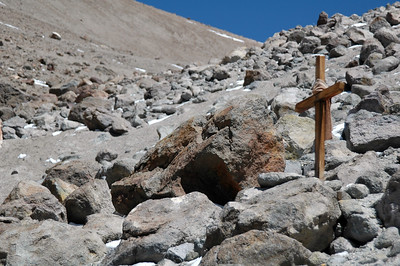 CHACHANI, PERU: Not sure of the story behind this cross, but it voices a suggestion of caution and respect for the mountain.