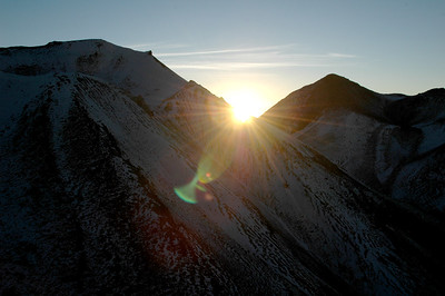 CHACHANI, PERU: Sunrise from behind El Angel as we work our way up the slope of Fatima before reaching Chachani proper.