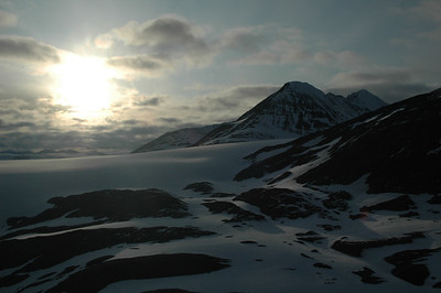 Being so far north, the sun takes its sweet time to set over the Harding Icefield.