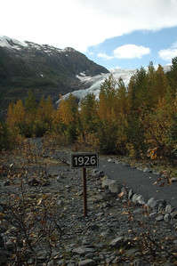 Along the road to the trailhead and up to the toe of the glacier, signs like these show where the glacier used to reach to, in this case, in 1926 the glacier came all the way down to here.
