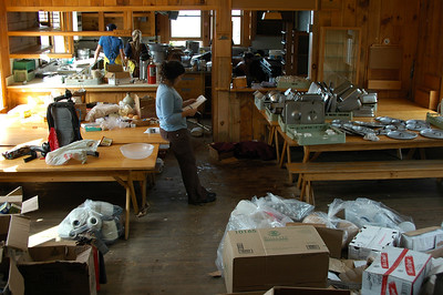 The Madison Spring Hut crew is shutting things down. All the guests are gone and they're cleaning everything and doing inventory to put it all away for the winter.