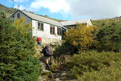 Hikers approach Madison Hut that sleeps up to 52 people a night.