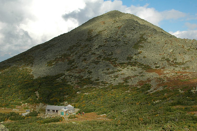 Madison Spring Hut, at the base of Mt. Madison as seen from the slope up to Mt. Adams.