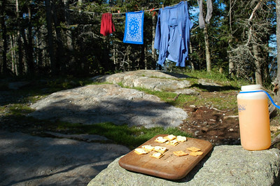 After my day off, I hiked back up to Gray Knob Cabin and washed my sweaty clothes and hug them out to dry while I had a refreshing cheese and cracker break with some orange Crystal Lite. Mmmm.