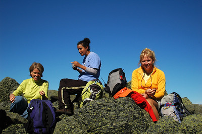 Before the Columbus Day rush hits, Sarah, Rebecca and Kristi come up for a visit! Here we're up on the summit of Mt. Adams enjoying the sunshine and some lunch.