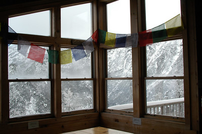 Looking out the Crag Camp windows into the vast King Ravine.