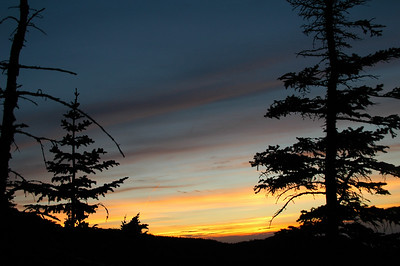 Sunset from the View Rock along Gray Knob Trail between Gray Knob Cabin and Crag Camp Cabin.