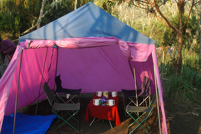 KILIMANJARO: Can you believe this? A dining tent complete with chairs, a table and a table cloth! This was set up and ready for us to enjoy some hot drinks every day when we rolled into camp. What's more, it looks like this when we depart and it still beats us up to the next camp.