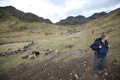 LARES TREK, URUBAMA, CUSCO (Cuzco), PERU: An easy 3 day hike from Lares through Wakawasi, over the Ipsay Jasa Pass (4,450m), Ipsay Cocha Lake, and into Patacancha. Views of Siriwani, Sawasiray & Colque Cruz mountains. David Bailey, Robert Horner, Cameron Martindell; Guide: Guido