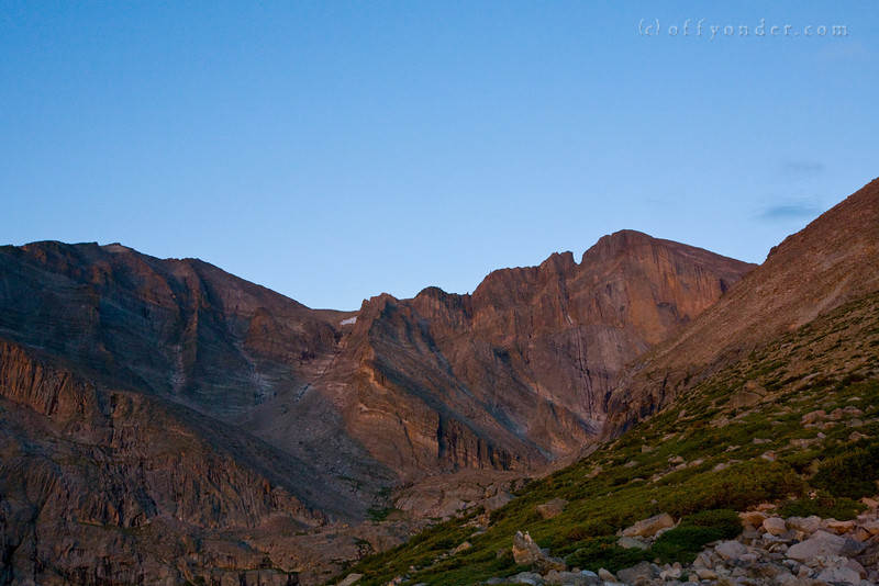 LONGS PEAK, CO - A classic pre-sunrise start to gain the summit of this popular 14'er on Colorado's Front Range near Boulder.