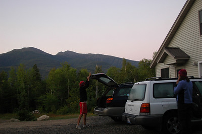 McKenzie closes the trunk at Altopia with Mt. Adams in the background as we depart before sunrise for our Mahoosuc adventure.