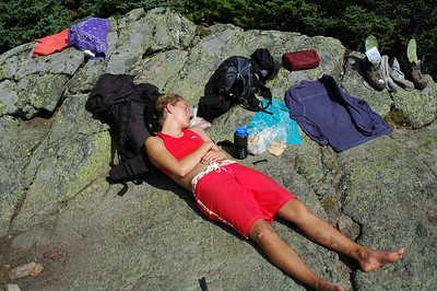 We were a bit ahead of schedule, and instead of spending all of our extra time down in the shelter, we opted for an....oh....three hour nap here in the sun, right on the trail on the summit of Mt. Success.