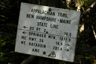 Rt. 2 is where we're going, tomorrow; Springer Mtn. is the start of the Appalachian Trail in Georgia; Hwy 26 is where we started yesterday; and Mt. Katahdin is the north end of the AT. Looks like someone coming up from Georgia counted a few more steps than the person who made this sign.