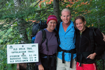 The Off Yonder Mahoosuc Crew (l. to r.): Dawn, Cameron and McKenzie. Photo by super support guy Al. Starting at the north end in Grafton Notch.