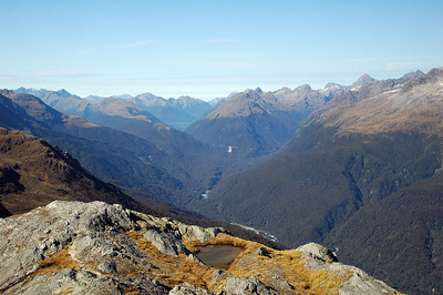 Looking south from Conical Hill down the Hollyford Valley, the direction we're heading next.