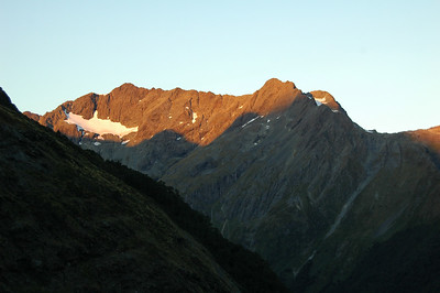 The evening alpenglow show on the Humboldt range across the valley from our hut.
