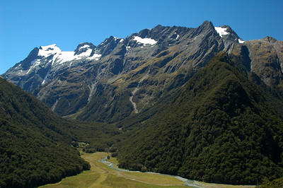 Looking down on the Routeburn Flats and along the Humboldt Mountains from Routeburn Falls