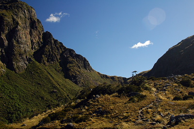 Looking up, the looming headwall below Centre Pass and the end of the Seaforth River.