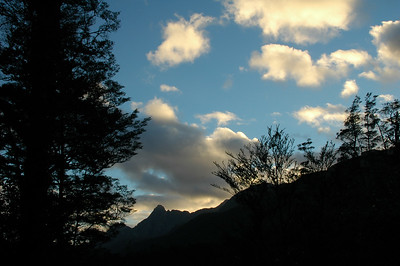 The clouds are still a bit golden as we start in the morning, departing Upper Spey Hut.