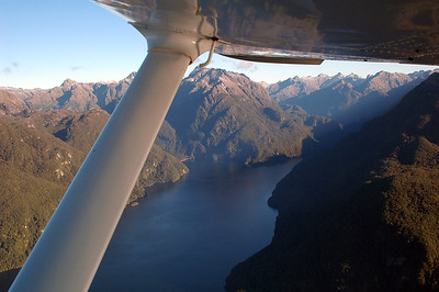 Flying over Lake Manapouri, looking up the North Arm.