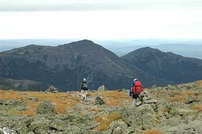 Working my way up the slope of Mt. Washington, looking back: Mt. Adams (5,585') in the middle and Mt. Madison (5,366') on the right.