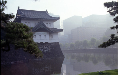 Morning light on a guard tower at the Impirial Palace along the moat in Tokyo