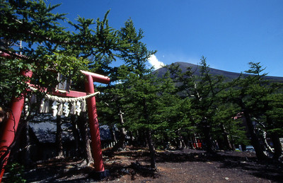 Fuji-san dominates the skyline behind this small shrine.