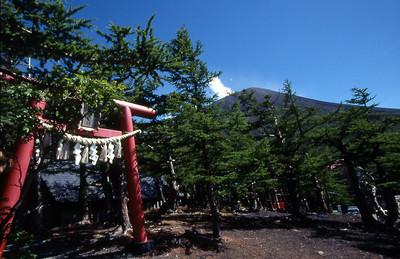 Fuji-san dominates the skyline behind this small shrine.