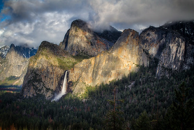Bridle veil falls at sunset
