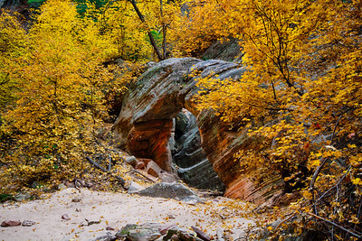 Small freestanding arch in Hidden Canyon, Zion National Park