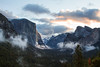 The sunrise just reaching El Capitan on a February morning from the Tunnel View.
