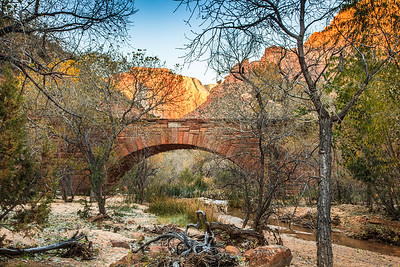 The West Temple and the Pine Creek Bridge at sunrise, Zion National Park