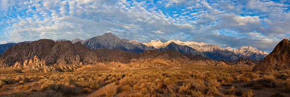 1st light on the Eastern Sierra, Alabama Hills, Panorama format, 3;1