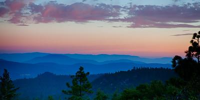 San Jacinto mountains at dusk. This is a large 3 shot panorama