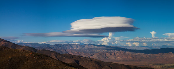 Lenticular clouds over the Santa Rosa Mountains. This is a 5 shot panorama.
