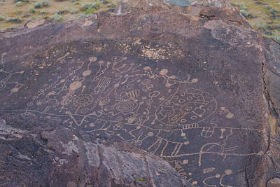 Sky Rock, Indian petroglyphs near Bishop Ca. on the Volcanic Tablelands. These petroglyphs are on top of a table rock visible only from on top of the rock or from the sky. Probably of Paiute origin.