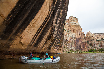 """""""Tiger Wall"""" on the Yampa River. Approaching Tiger Wall. It is considered good luck to kiss this wall  before running the Warm Springs Rapids, the biggest rapids on the river."""