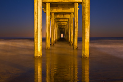 """Golden Columns"", Scripps Pier at night, La Jolla"