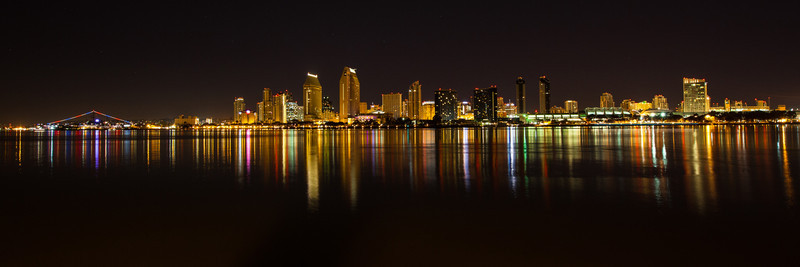Downtown San Diego from Coronado Island. Shown from the USS Midway on the left to Petco Park on the right.
