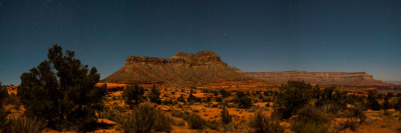 The view from our campsite at the Toroweap Campgrounds.This scene is lite by moonlight.