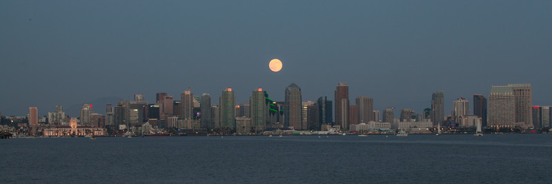 Aug. 10th Super Moon rising over the San Diego skyline.