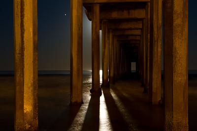 """Moon Light Pier"", Scripps Pier at night under a full moon, La Jolla"